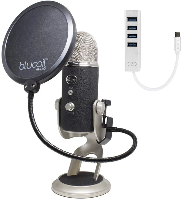 Blue Microphones Yeti PRO XLR USB Condenser Mic + Blucoil Mini USB Type-C Hub + Pop Filter