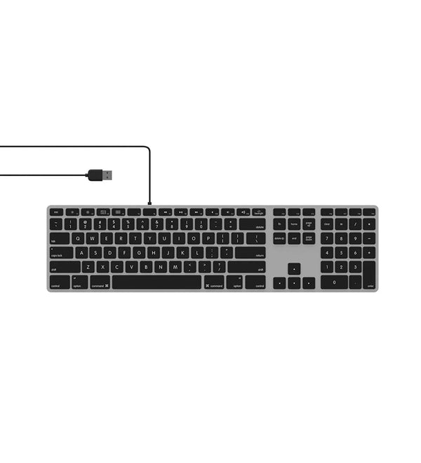 Matias FK318LB Backlit RGB Tactical USB 2.0 Wired Aluminum Keyboard with Numeric Keypad - Compatible with Mac
