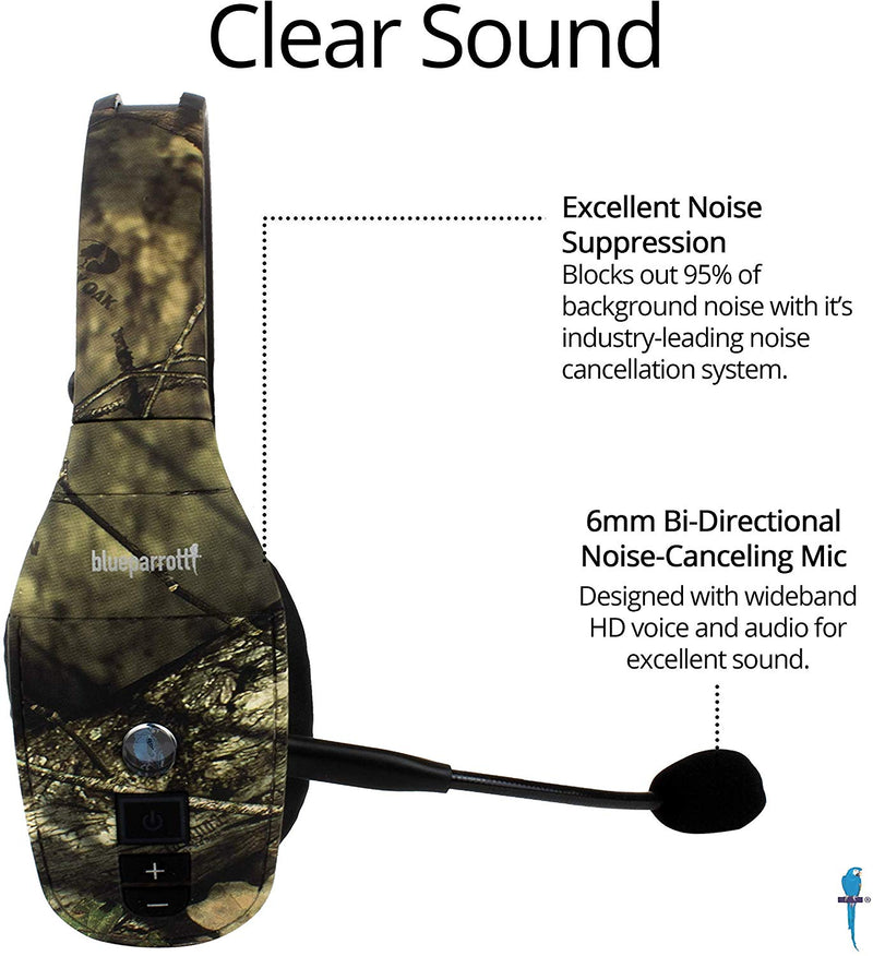BlueParrott B450-XT Bluetooth Headset (Mossy Oak) + Micro-USB Car Charger + Blucoil USB Wall Adapter + 5x Cable Ties