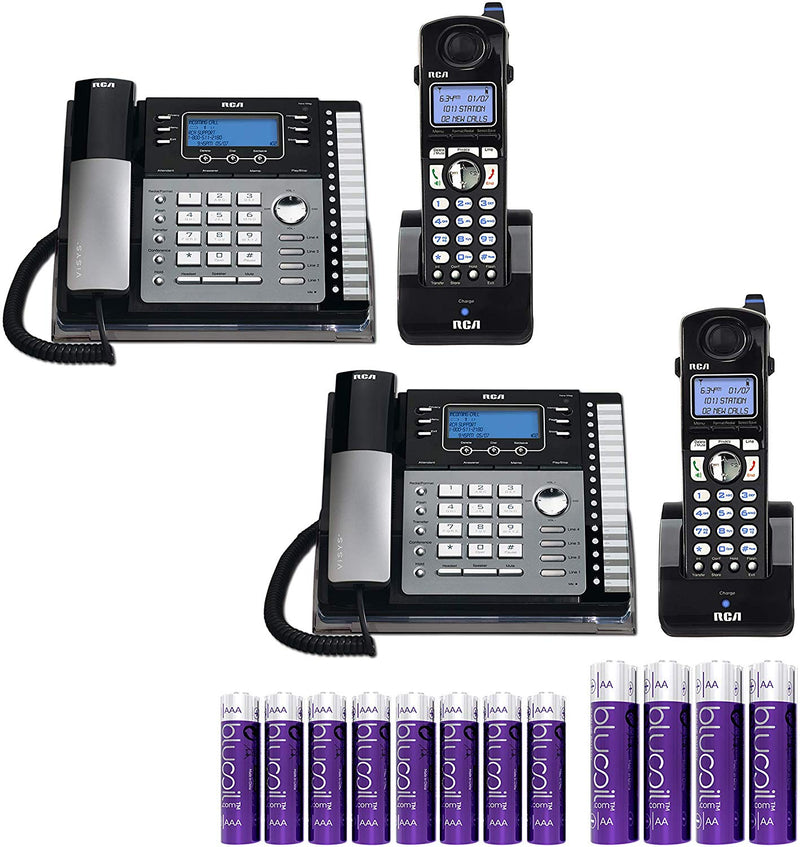 RCA 25424RE1 4-Line Expandable Phone System - Office Desk Telephone with Built-In Caller ID and Intercom Bundle with RCA H5401RE1 DECT 6.0 Cordless Handset, Blucoil 2 AA Batteries, and 4 AAA Batteries