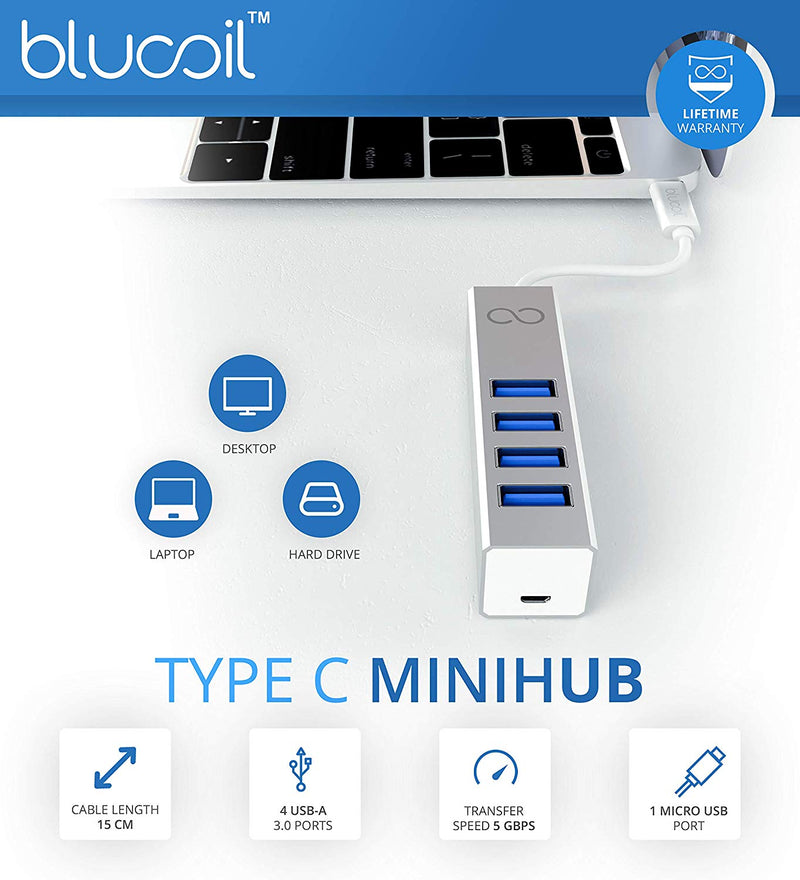 Blucoil Mini Aluminum USB-C Hub with 4 Ports USB Expansion - for Apple MacBook/MacBook Pro/iMac/iMac Pro, Google Pixel Chromebook, Samsung and More, Compatible with Windows and Linux PC