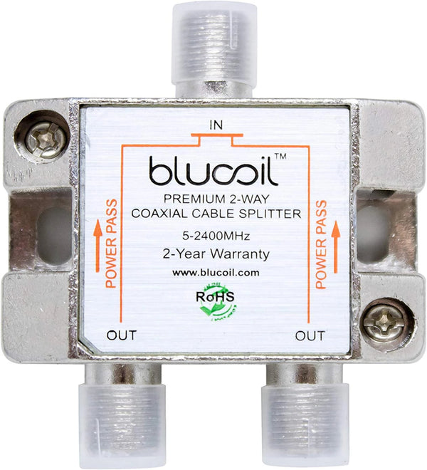 Blucoil 2 Way Coaxial Cable Splitter for CATV, Satellite TV Antenna, and Television Tuner Box - 5-2400 Mhz Frequency Range