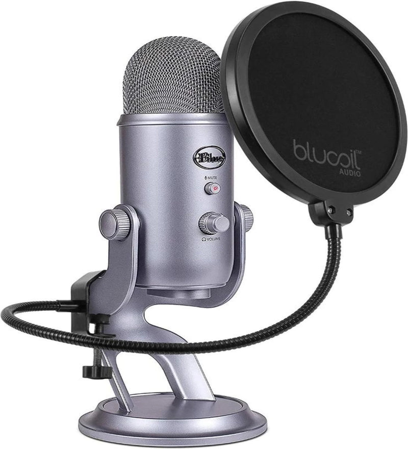Blue Microphones Yeti USB Condenser Microphone (Cool Grey) + Blucoil Pop Filter Windscreen