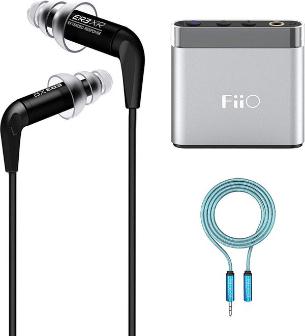Etymotic Research ER3XR Extended Response Noise-Isolating in-Ear Earphones Bundle with Replacement Filters FiiO A1 Silver Portable Headphone Amplifier, and 6-FT Headphone Extension Cable (3.5mm)