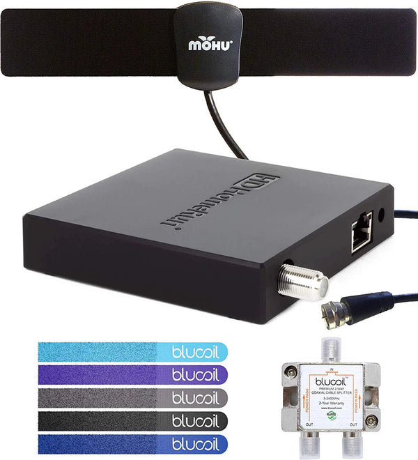 SiliconDust HDHomeRun Connect Duo HDHR5-2US Dual Tuner Bundle with Mohu 25 Mile Indoor HDTV Antenna, Blucoil 2-Way TV Coaxial Cable Splitter and 5-Pack of Reusable Cable Ties