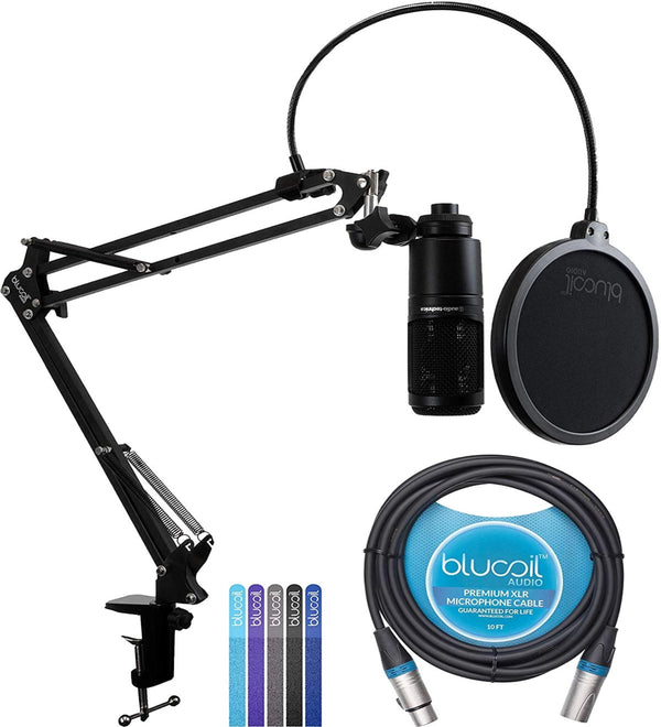 Audio Technica AT2020 Condenser Microphone + Blucoil Boom Arm Plus Pop Filter + 10-FT Balanced XLR Cable