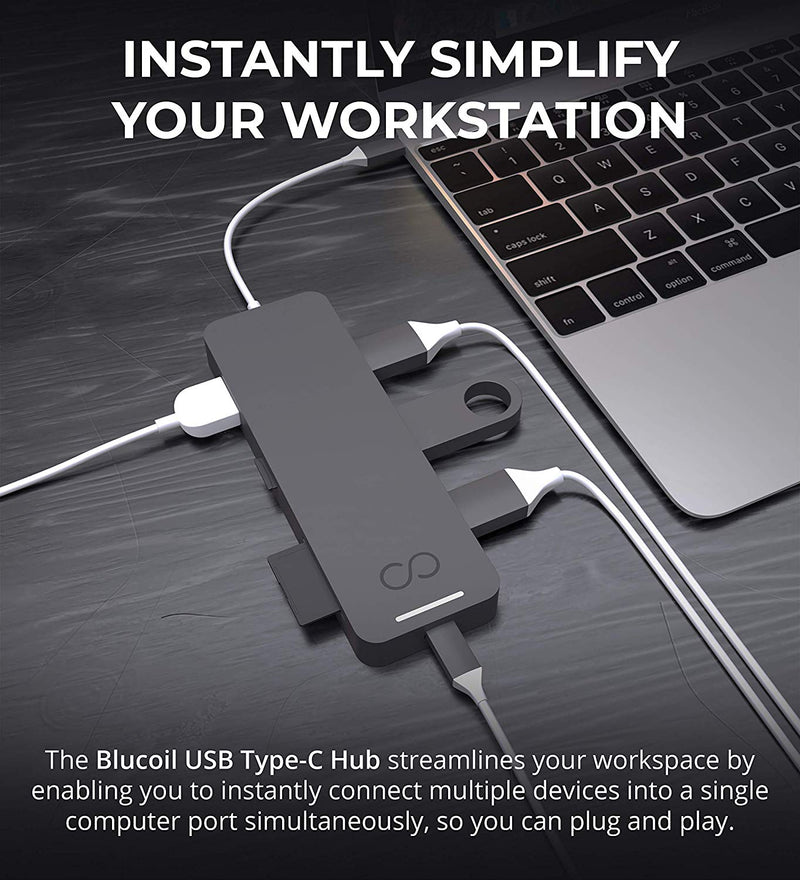 Blucoil USB Type-C Hub 7-in-1 USB C Adapter with 4K HDMI, MicroSD/SD Card Reader, 3X USB 3.0 and USB-C Pass-Through Charging Ports Compatible with MacBook, Chromebook, Mac, Windows, and More