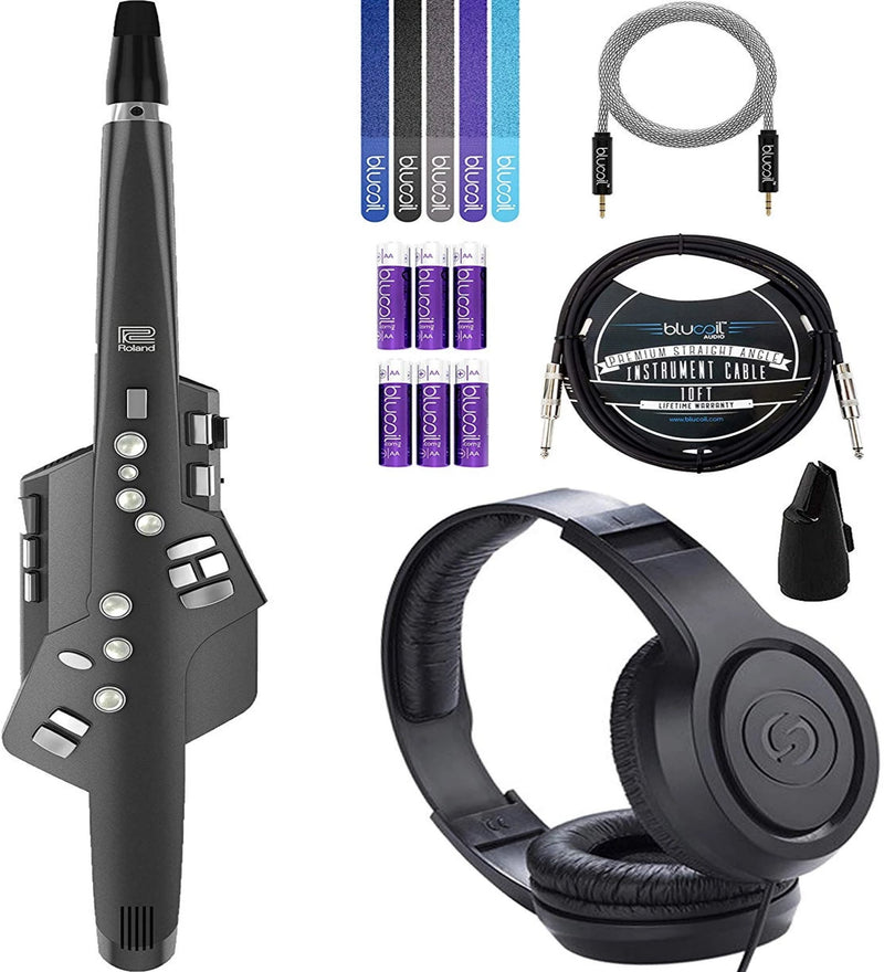 Roland Aerophone AE-10 Digital Saxophone Bundle with Samson SR350 Headphones, 6-FT Stereo Aux Cable, Blucoil 10-FT Mono Instrument Cable, 5-Pack of Reusable Cable Ties, and 6 AA Batteries