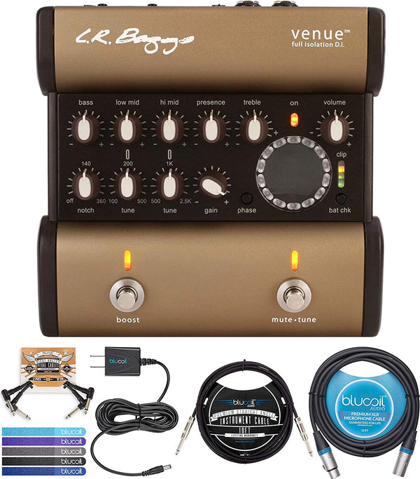 LR Baggs Venue DI Acoustic Guitar Preamp Bundle with Blucoil Slim 9V 670ma Power Supply AC Adapter, 10-FT Balanced XLR Cable, 10-FT Mono Instrument Cable, 2x Patch Cables, and 5x Cable Ties