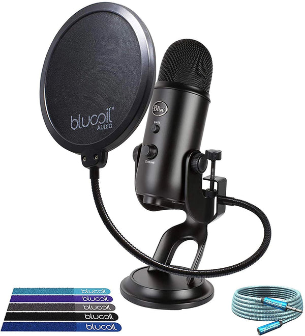 Blue Microphones Yeti USB Microphone (Black) + Blucoil Pop Filter + 6' 3.5mm Extension Cable + 5x Cable Ties