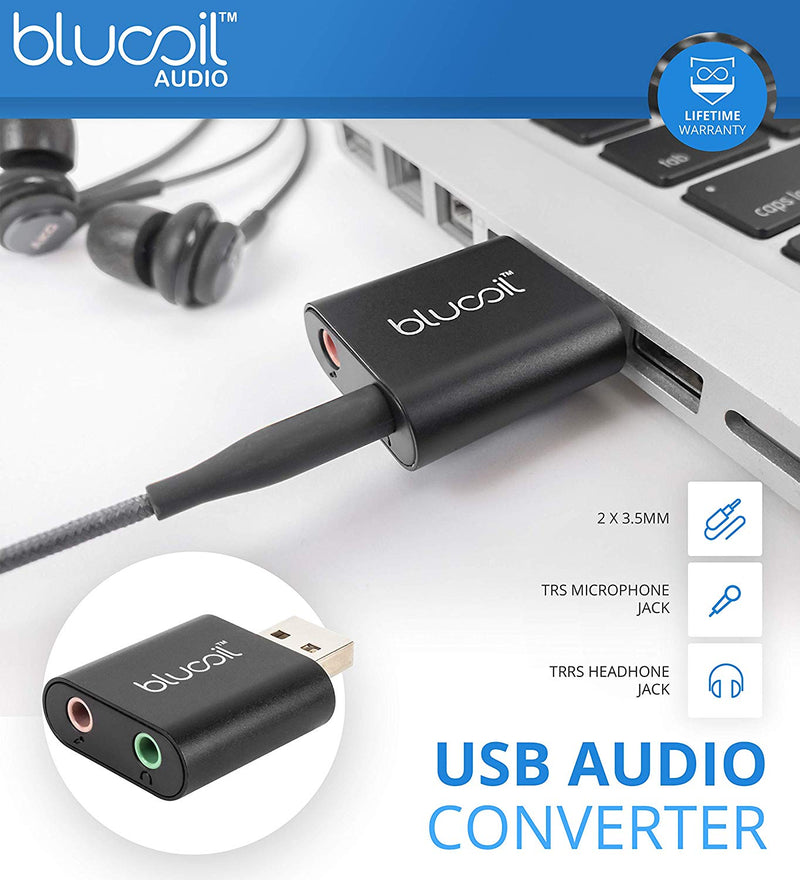 Blucoil USB External Audio Adapter with 3.5mm TRS Mono Microphone and TRRS Stereo Headphones Jack - Compatible with Mac, Linux, Windows Operating Systems