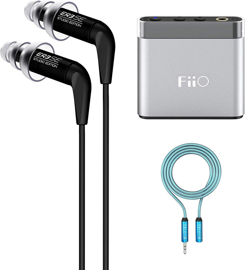 Etymotic Research ER3SE Studio Edition Noise-Isolating in-Ear Earphones Bundle with Replacement Filters, FiiO A1 Silver Portable Headphone Amplifier, and 6-FT Headphone Extension Cable (3.5mm)