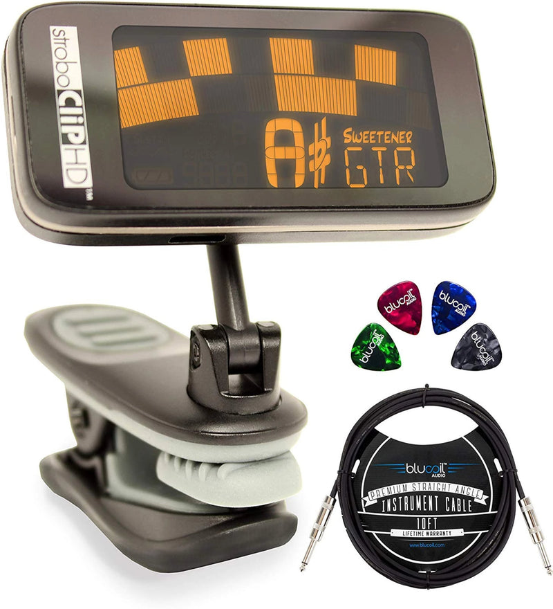 Peterson StroboCLIP HD Clip-On Strobe Tuner Bundle with CR2032 Battery, Blucoil 10-FT Mono Instrument Cable, and 4-Pack of Celluloid Guitar Picks