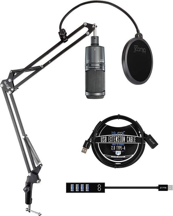 Audio-Technica AT2020USB Plus Cardioid Condenser USB Microphone Bundle with Blucoil Boom Arm Plus Pop Filter, 3-FT USB 2.0 Extension Cable, and Mini USB Type-A Hub