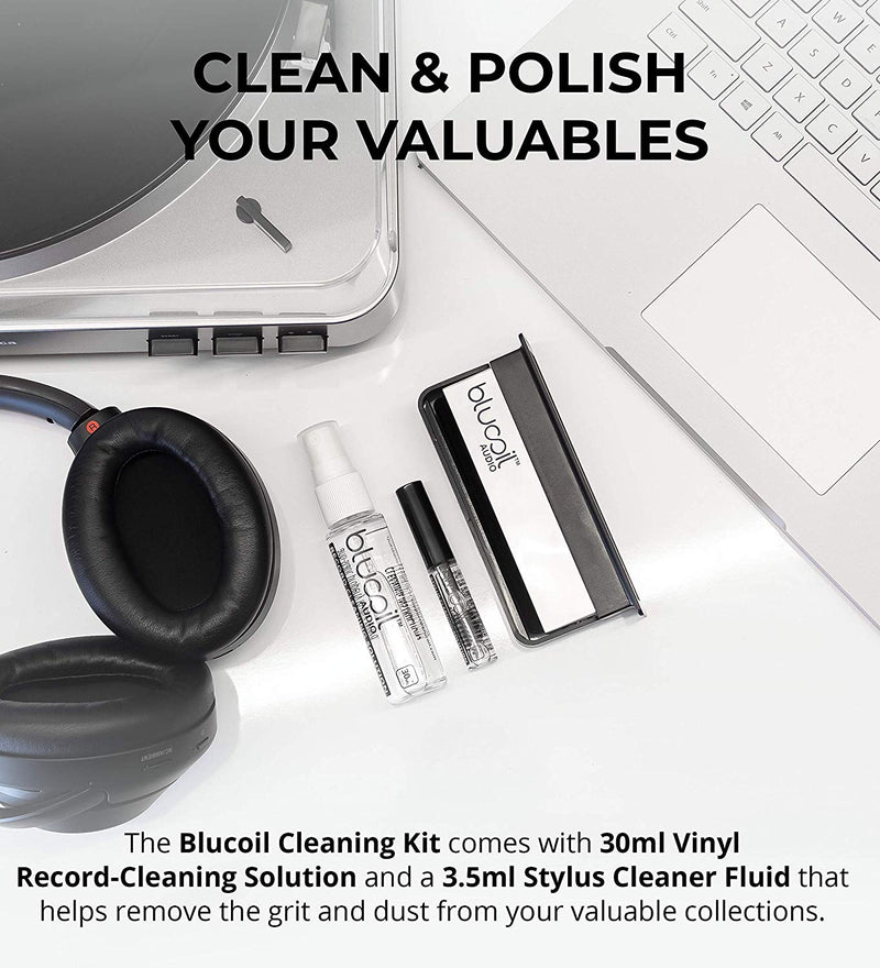 Blucoil Cleaning Kit for Turntable Stylus, LP and Vinyl Records - Anti-Static Carbon Fiber Brush, Velvet Record Cleaning Brush Stand 30ml Vinyl Record-Cleaning Solution 3.5ml Stylus Cleaner Fluid