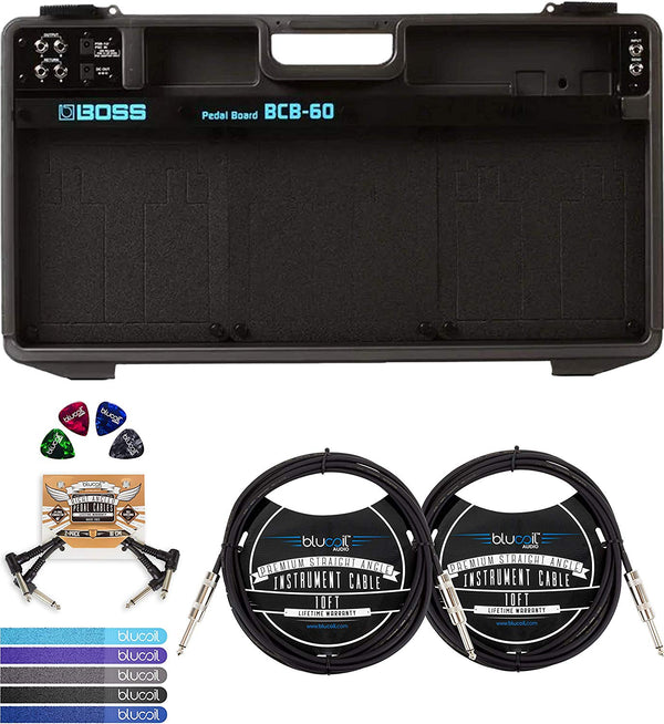 "BOSS BCB-60 Pedalboard & Case + Blucoil 2x 10' Straight Instrument Cable (1/4"") + 2x Patch Cables + 4x Guitar Picks"