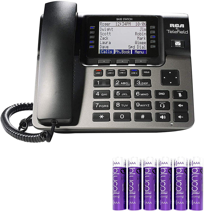 RCA U1000 Unison Base Station - 4 Line Phone Systems for Small Business with Digital Receptionist Bundled with 6 Blucoil AAA Batteries