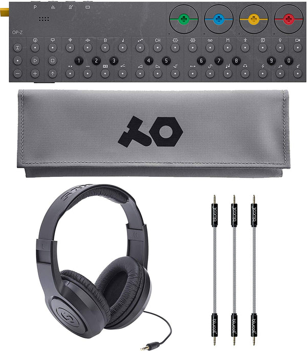 "Teenage Engineering OP-Z Wireless Bluetooth Synthesizer Sequencer Bundle with OP-Z PVC Roll Up Bag (Gray), Samson SR350 Over-Ear Closed-Back Headphones, Blucoil 3-Pack of 7"" Audio Aux Cables"