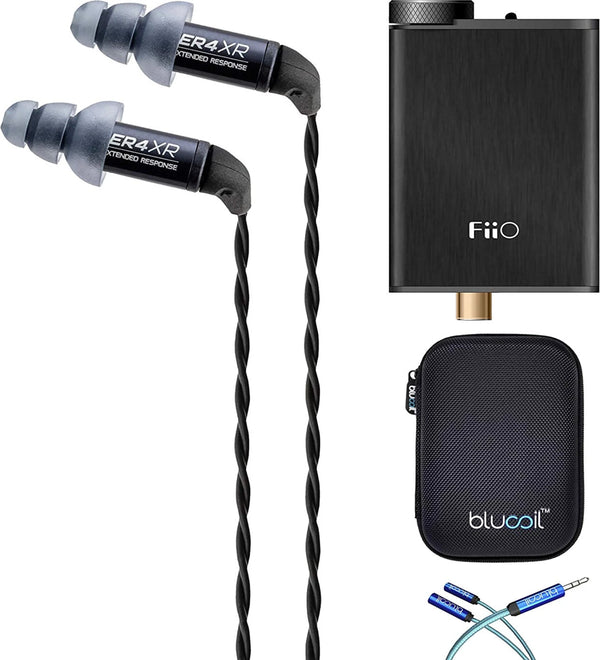 Etymotic Research ER4XR Noise-Isolating in Ear Monitors Bundle with Replacement Filters, FiiO E10K Black USB DAC and Headphone Amplifier, Blucoil Y Splitter Cable, and Portable Earphone Hard Case