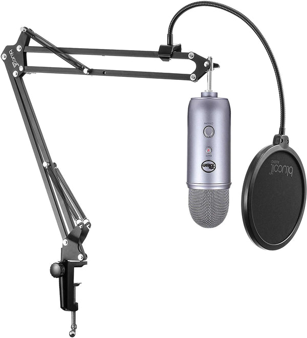 Blue Microphones Yeti USB Condenser Microphone (Cool Grey) + Blucoil Boom Arm Plus Pop Filter