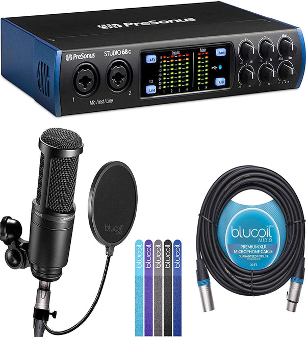PreSonus Studio 24c USB-C Audio Interface Bundle with Audio Technica AT2020 Condenser Microphone, Blucoil 20-FT Balanced XLR Cable, Pop Filter Windscreen, and 5-Pack of Reusable Cable Ties