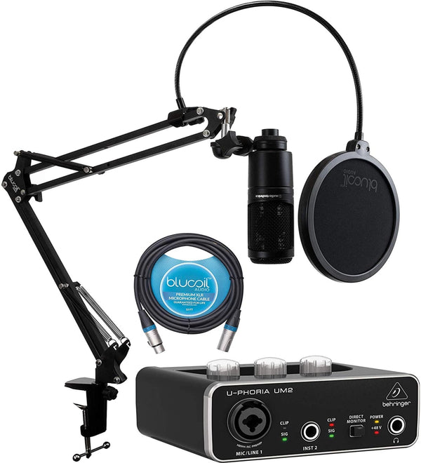 Audio Technica AT2020 Condenser Microphone + Behringer UM2 Audio Interface + Blucoil Boom Arm Plus Pop Filter + 10' XLR Cable