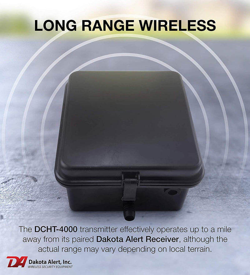 Dakota Alert DCHT-4000 Outdoor Alarm System: Wireless Transmitter + 25' Rubber Hose Vehicle Sensor