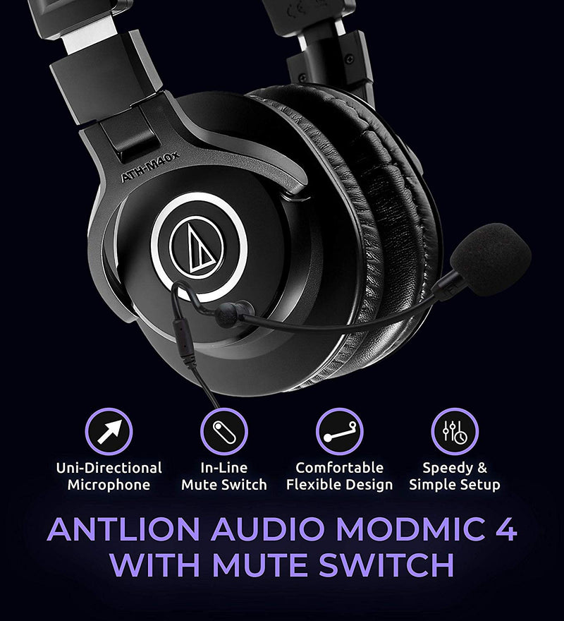 Audio-Technica ATH-M40x Headphones + Antlion Audio ModMic 4 Without Mute Switch + Blucoil Y Splitter Cable