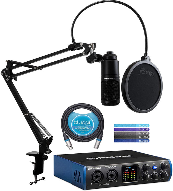 PreSonus Studio 24c USB-C Audio Interface Bundle with Audio Technica AT2020 Condenser Microphone, Blucoil Boom Arm Plus Pop Filter, 10-FT Balanced XLR Cable, and 5-Pack of Reusable Cable Ties