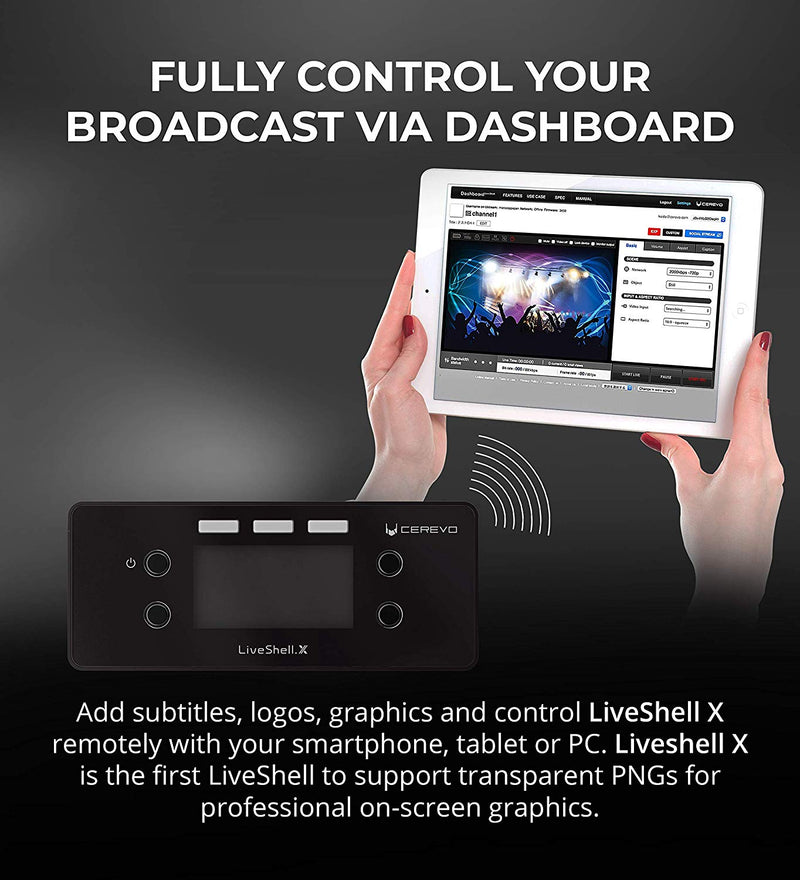 Cerevo LiveShell X HD Video Streamer with H.265 Encoder and Stereo Line (WiFi & Wired Connection)