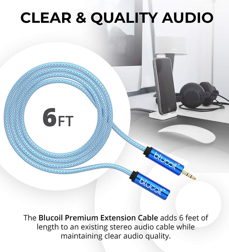 Blucoil Audio Premium Earphone and Headphone 3.5mm Extension Cable (6-Feet/1.82 Meters) for Phones, Computers, MP3 Players, Portable Amps, Stereo Equipment and More
