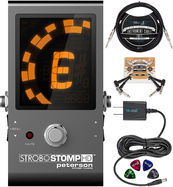 Peterson StroboStomp HD Strobe Tuner Pedal Bundle with 9V Battery, Blucoil Slim 9V 670ma Power Supply AC Adapter, 10-FT Mono Instrument Cable, 2-Pack of Pedal Patch Cables, and 4x Guitar Picks