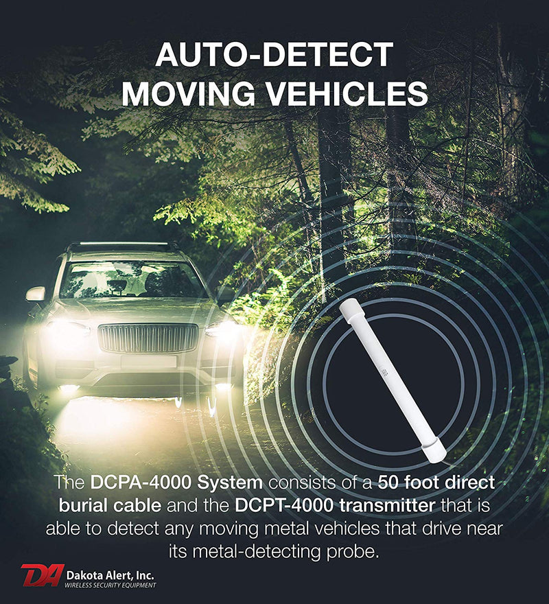 Dakota Alert DCPA-4000 Driveway Alarm System: Wireless Receiver + Car Detecting Probe + 50' Direct Burial Cable