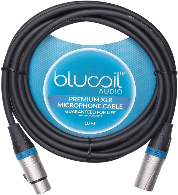 Blucoil Audio Balanced XLR Cable with 24 AWG Copper Wire and PVC Jacket - 3-Pin Male to Female Microphone Cord for Audio Interfaces, Mixers, Preamps, and Recorders