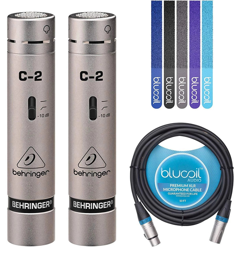 Behringer C-2 Matched Pair Cardioid Condenser Microphones Bundle with Blucoil Audio 10' Balanced XLR Cable and 5-Pack of Reusable Cable Ties