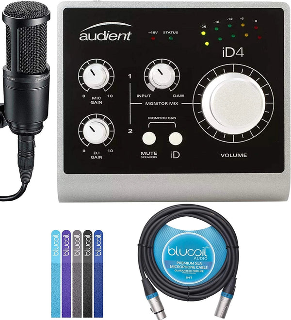 Audient ID14 Desktop Audio Interface Bundle with 12V DC Power Supply, Audio-Technica AT2020 Cardioid Condenser Microphone, Blucoil 10-FT Balanced XLR Cable, and 5-Pack of Reusable Cable Ties