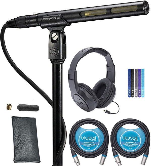 Audio-Technica AT875R Line + Gradient Condenser Microphone Bundle with Samson SR350 Over-Ear Closed-Back Headphones, Blucoil 2-Pack of 10-FT Balanced XLR Cables, and 5-Pack of Reusable Cable Ties