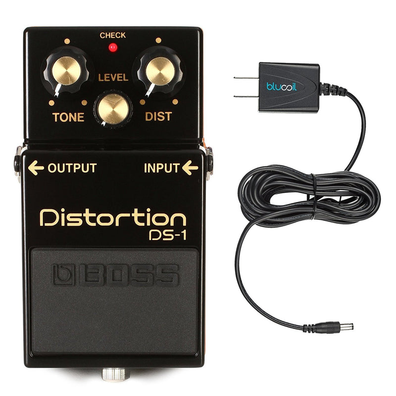 Boss DS-1-4A 40th Anniversary Distortion Pedal - Limited Edition - INCLUDES - Blucoil Power Supply Slim AC/DC Adapter for 9 Volt DC 670mA