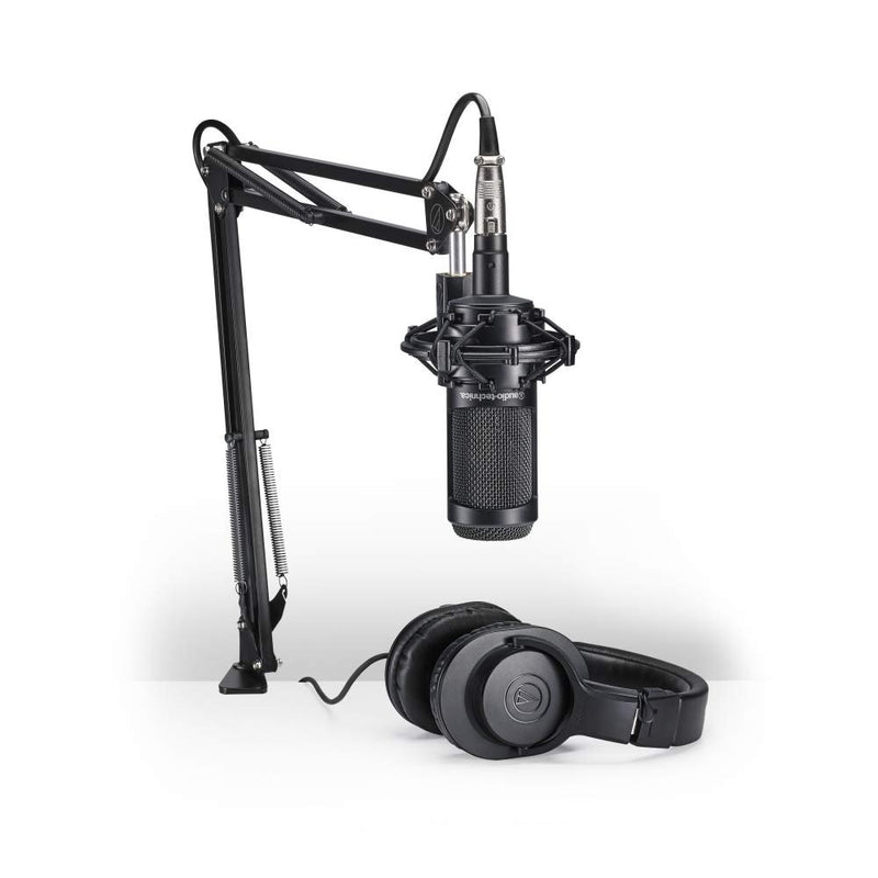 Audio-Technica AT2035PK Streaming/Podcasting Pack Bundle with Behringer U-PHORIA UM2 2x2 USB Audio Interface, Blucoil Pop Filter, 20-FT Balanced XLR Cable, 6' 3.5mm Extension Cable and 5x Cable Ties