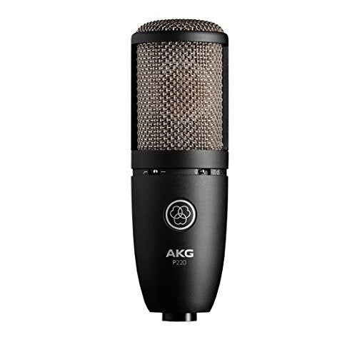 AKG P220 Large-diaphragm Condenser Microphone for Vocal Recording Bundle with Blucoil 10-Ft Balanced XLR Cable and Pop Filter