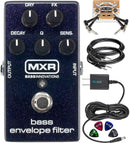 MXR M82 Bass Envelope Filter Pedal Bundle with Hosa 2-Pack of 5-FT Straight Instrument Cables (1/4in), Blucoil Slim 9V 670ma Power Supply AC Adapter, 2-Pack of Pedal Patch Cables, and 4x Guitar Picks