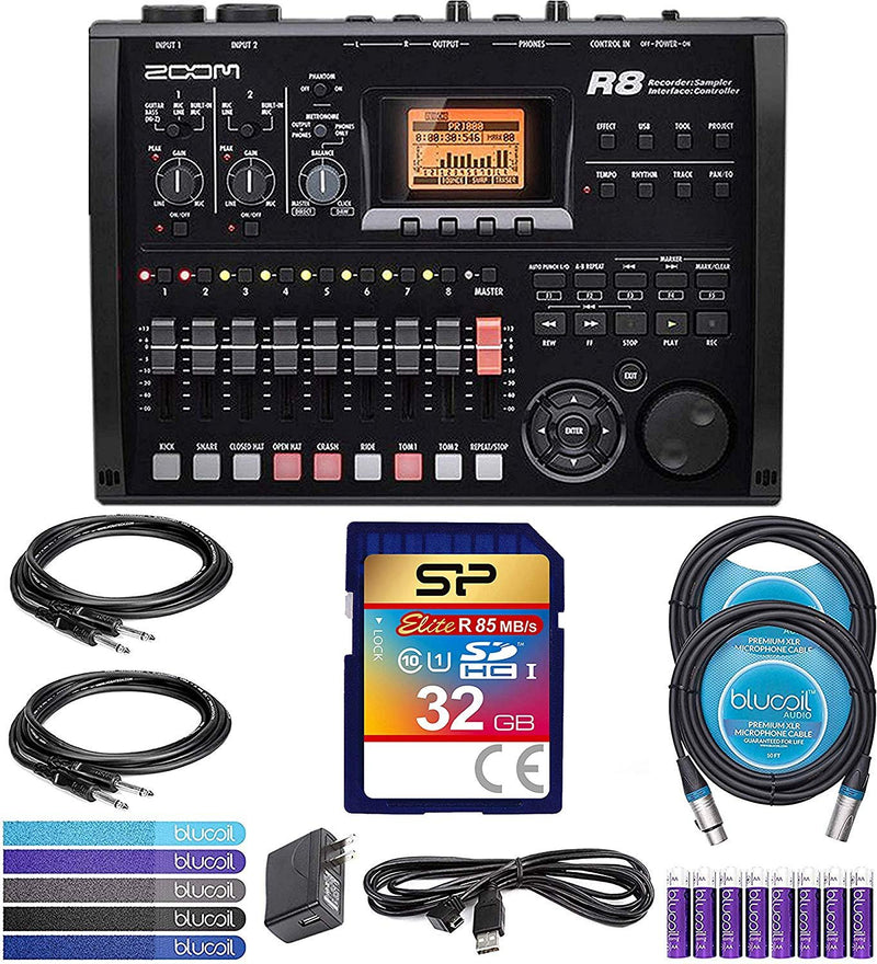 Zoom R8 Multitrack Recorder Bundle with Silicon Power 16GB & 32GB Class 10 SDHC SD Cards, 2x 10-FT Straight Instrument Cables (1/4in), 2x Blucoil 10' XLR Cables, 5x Cable Ties, and 8 AA Batteries