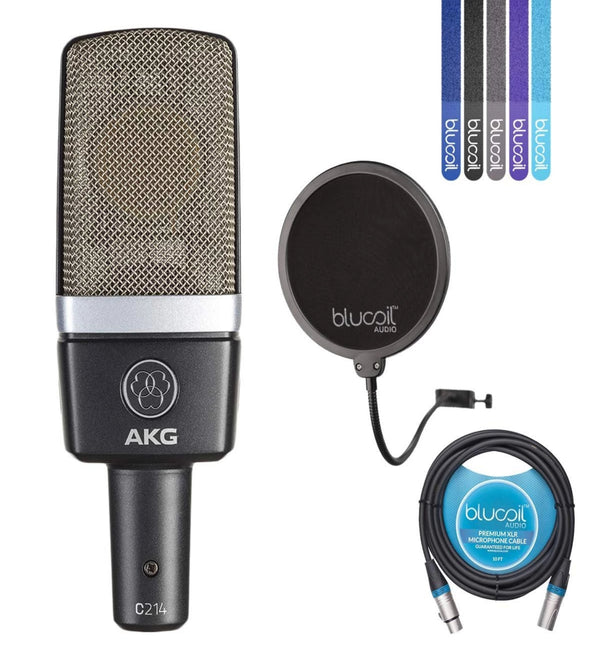 "AKG C214 Large-Diaphragm Condenser Microphone for Vocals and Musical Instruments Bundle with Blucoil 6"" Pop Filter, 10-Ft Balanced XLR Cable and 5 Pack of Cable Ties"