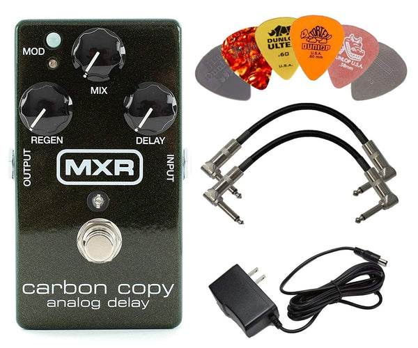 MXR M169 Carbon Copy Analog Delay Pedal BUNDLE with AC/DC Adapter Power Supply for 9 Volt DC 1000mA, 2 Metal-Ended Guitar Patch Cables AND 6 Dunlop Guitar Picks