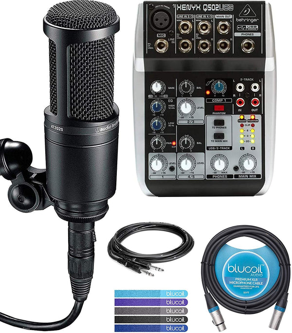 Audio-Technica AT2020 Cardioid Condenser Microphone Bundle with Behringer XENYX Q502USB Analog Mixer, Hosa 5-FT Straight Instrument Cable (1/4in), Blucoil 10-FT Balanced XLR Cable, and 5x Cable Ties