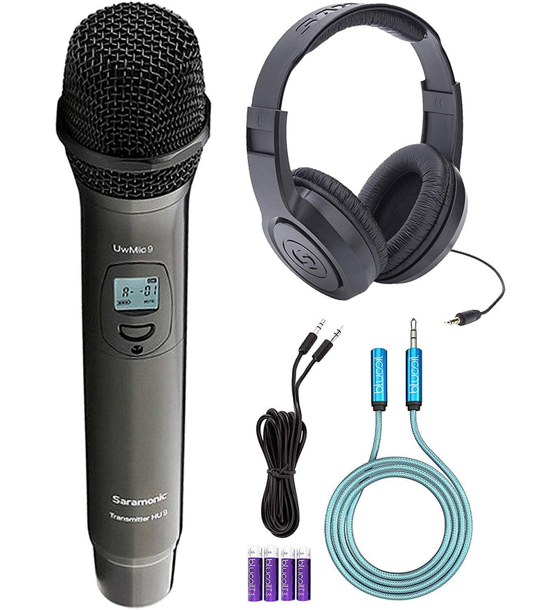 Saramonic UWMIC9 HU9 UHF Wireless Handheld Microphone Bundle with Samson SR350 Over-Ear Closed-Back Headphones, Blucoil 6-FT Headphone Extension Cable (3.5mm), 6-FT Stereo Aux Cable and 4 AA Batteries