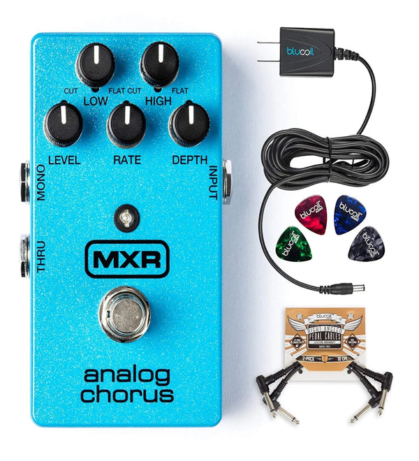 MXR M234 Analog Chorus Pedal Bundle with Blucoil Slim 9V 670ma Power Supply AC Adapter, 2-Pack of Pedal Patch Cables and 4-Pack of Celluloid Guitar Picks