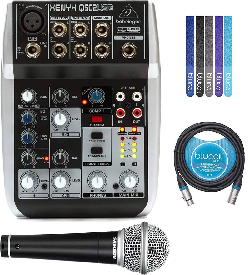 Behringer XENYX Q502USB Analog Mixer with Built-In USB Audio Interface Bundle with Samson R21S Cardioid Dynamic Microphone, Blucoil 10-FT Balanced XLR Cable, and 5-Pack of Reusable Cable Ties