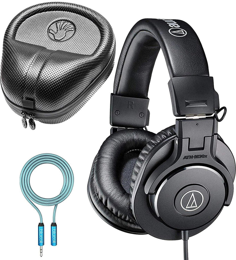 Audio-Technica ATH-M30x Monitor Headphones Bundle with SLAPPA SL-HP-07 Hardbody PRO Headphone Case and Blucoil Audio Premium Headphone 3.5mm Extension Cable