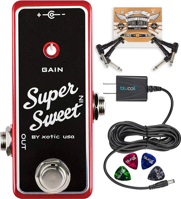 Xotic Super Sweet Booster Guitar Effects Pedal Bundle with Blucoil Slim 9V 670ma Power Supply AC Adapter, 2-Pack of Pedal Patch Cables, and 4-Pack of Celluloid Guitar Picks